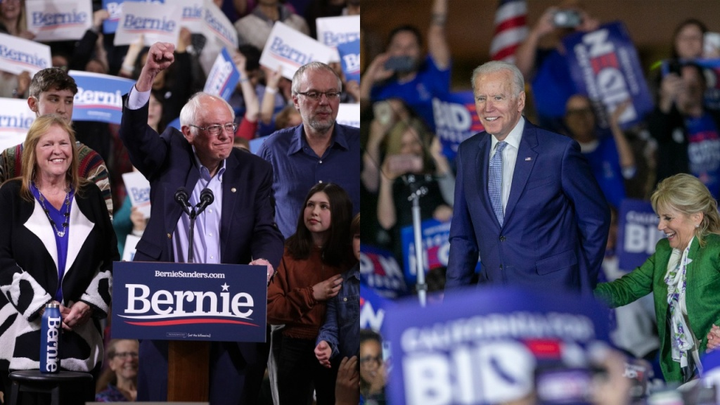 Vermont Senator Bernie Sander (L) and former Vice President Joe Biden (R) address their supporters at their respective rallies following Super Tuesday's results.