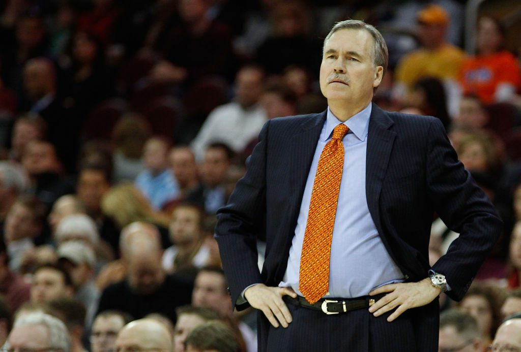 Head coach Mike D'Antoni of the New York Knicks watches his team play against the Cleveland Cavaliers during the game on February 25, 2011 at Quicken Loans Arena in Cleveland, Ohio.