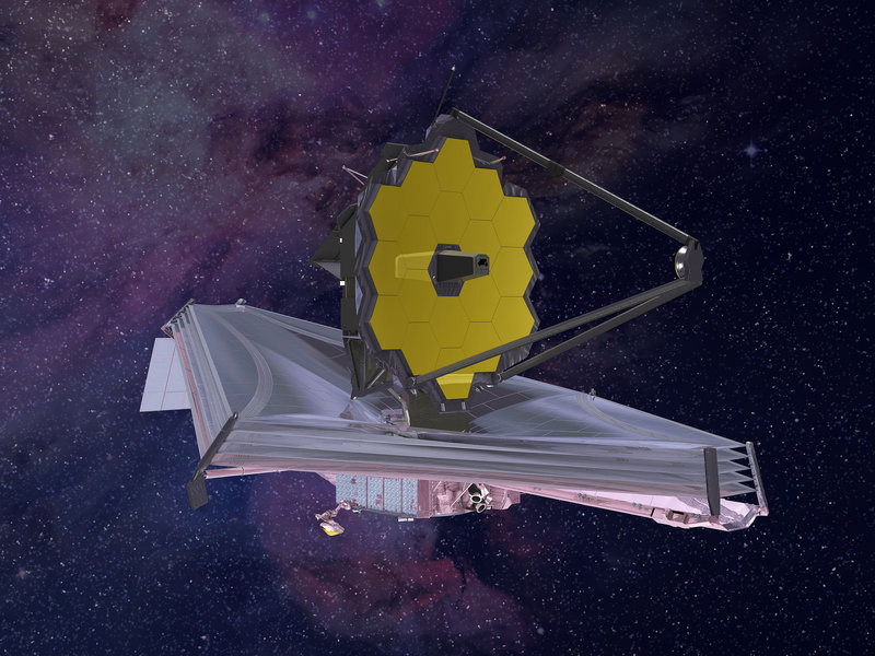 An artist's rendering of the James Webb Space Telescope. The telescope's silver, umbrella-shape heat shield will be the size of a tennis court, engineers say. It's crucial to keep cool the instruments that detect infrared light from distant stars.