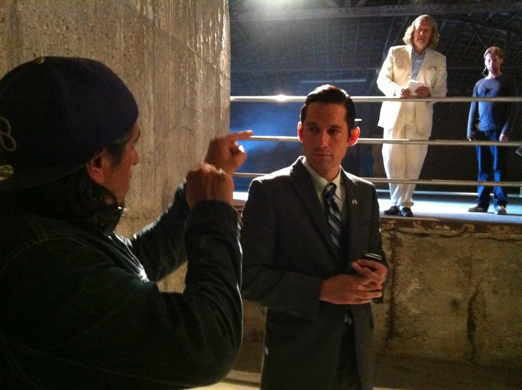 Writer/director Richard Montoya, left, on the set of