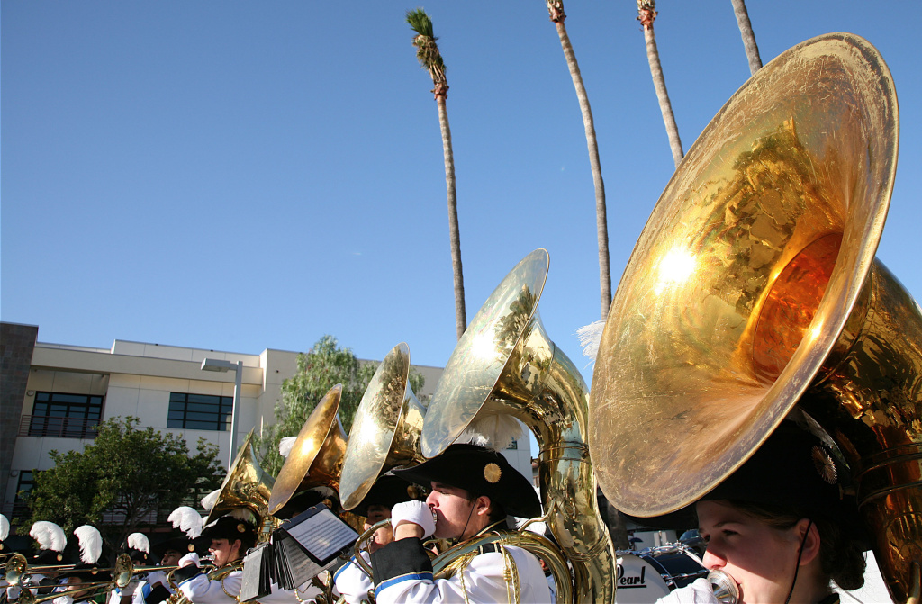 The Santa Monica High School marching band's tuba section is shown performing on Jan. 7, 2006, in Santa Monica, California. Recent tuba burglaries have left some high schools rushing to find replacements before Saturday's marching band competition.