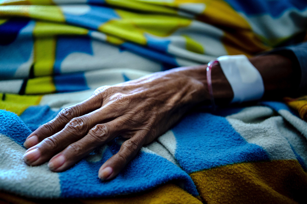 A patient at San Juan de Dios Hospital in Caracas, Venezuela.