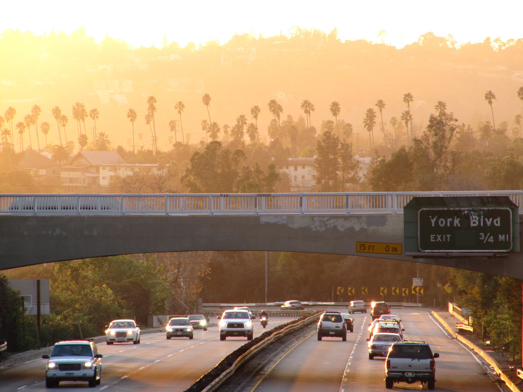 The Arroyo Seco Parkway, facing south in the late afternoon.