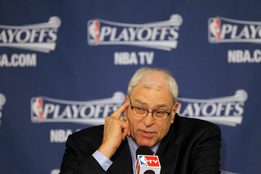 Former head coach Phil Jackson of the Los Angeles Lakers during a press conference after Game Four of the Western Conference Semifinals during the 2011 NBA Playoffs on May 8, 2011.
