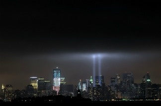 "The annual ""Tribute in Light"" memorial that echoes the shape of New York's World Trade Center twin towers is illuminated during the 10th Anniversary of the September 11, 2001 attacks at the lower Manhattan site of the World Trade Center"