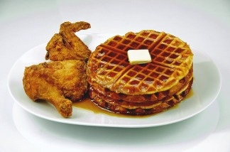 Chicken and waffles - together.