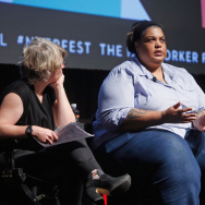 File: (L-R) The New Yorker staff writer Jill Lepore, writer Roxane Gay, and professor of history at Northwestern University Geraldo Cadava speak onstage at The Hillary Question during The New Yorker Festival 2015 at SVA Theater on Oct. 4, 2015 in New York City.