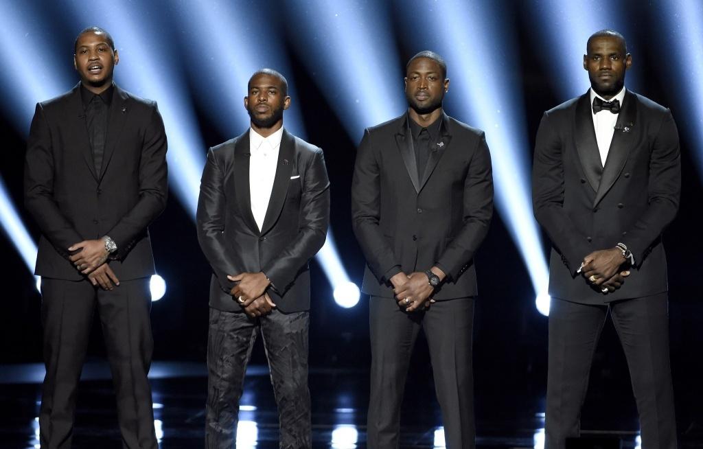 NBA superstars Carmelo Anthony, Chris Paul, Dwayne Wade and Lebron James