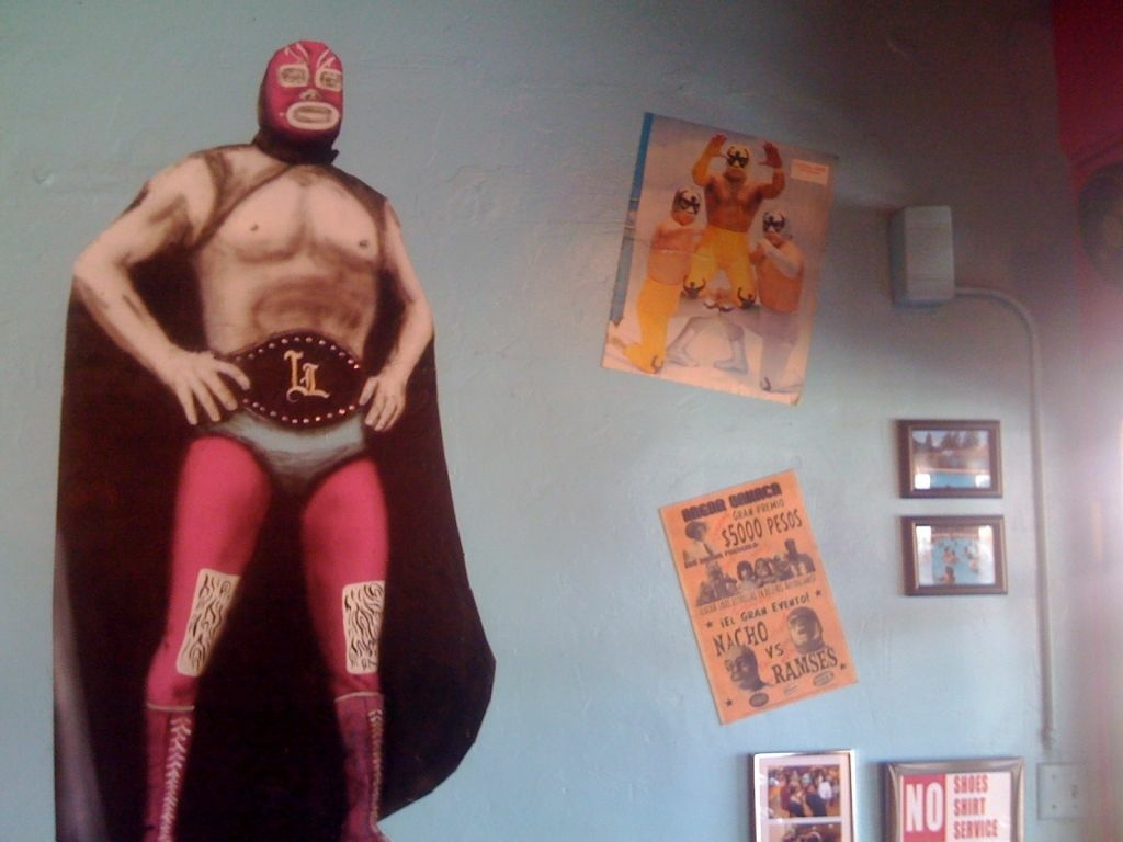 If you thought L.A. gourmet taco trucks were hip: A detail from the über-kitschy interior of San Diego's Lucha Libre Gourmet Taco Shop.