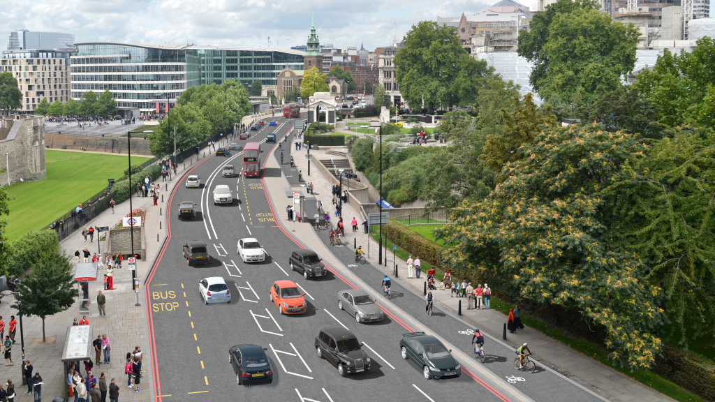 An artist's conception shows the two-way cycle track on Tower Hill that is part of London's new plan to boost its bicycle infrastructure.