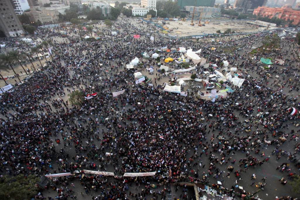 Thousands of Egyptians gather during a demonstration at Tahrir Square in Cairo on Nov. 23, 2011, demanding an end to military rule, despite a promise by the country's interim leader to transfer power to an elected president by mid-2012.