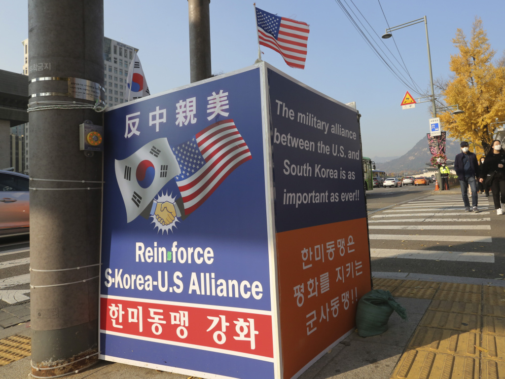 A billboard supporting the alliance between South Korea and the U.S. is displayed near the U.S. Embassy in Seoul, South Korea, on Thursday. The banner at top reads,