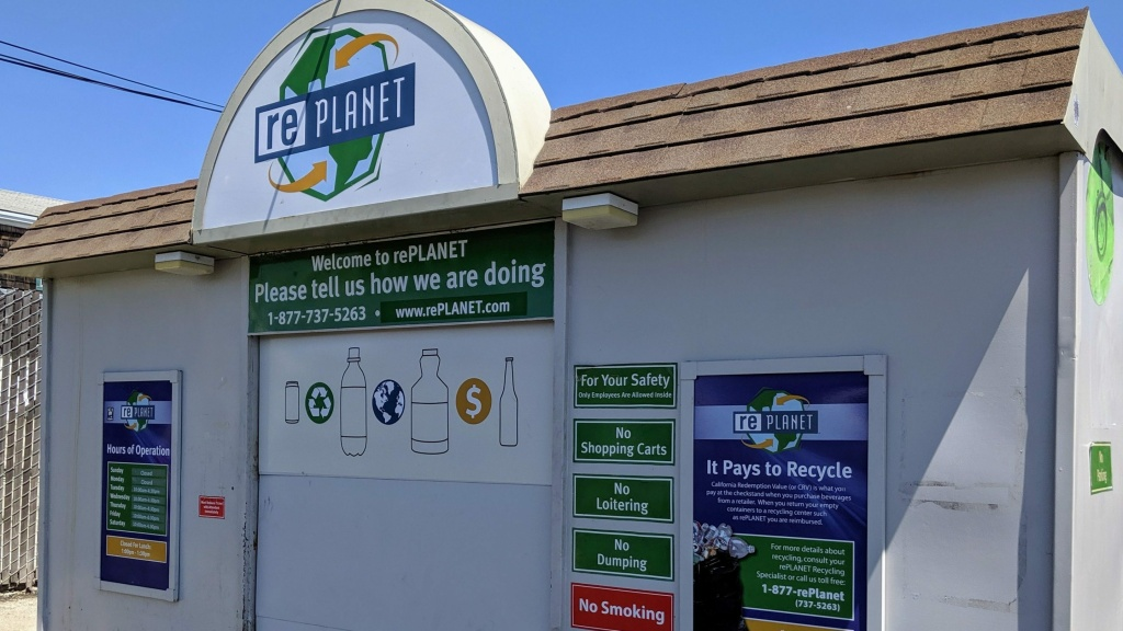 A RePlanet bottle and can redemption center in California.