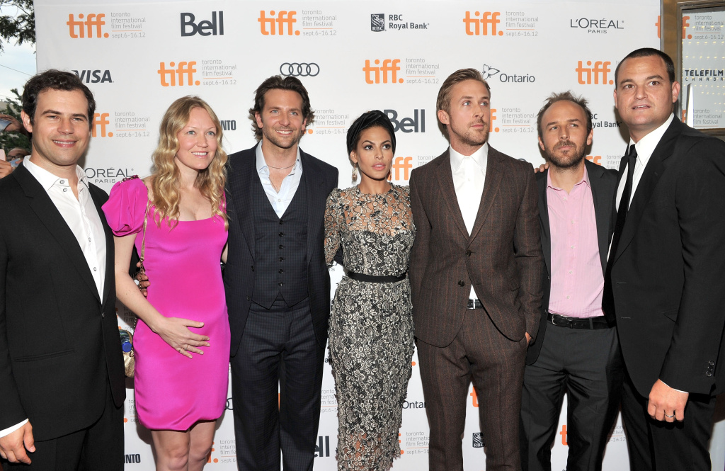 (L-R) producers Alex Orlovsky and Lynette Howel,  actors  Bradley Cooper, Eva Mendes, Ryan Gosling, Writer/Director Derek Cianfrance and producer Jamie Patricof attend