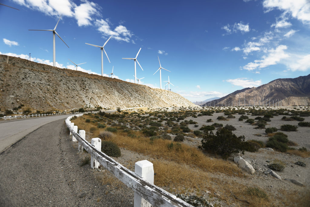 Wind turbines operate at a wind farm, a key power source for the Coachella Valley, on May 6, 2019 in Whitewater, California.