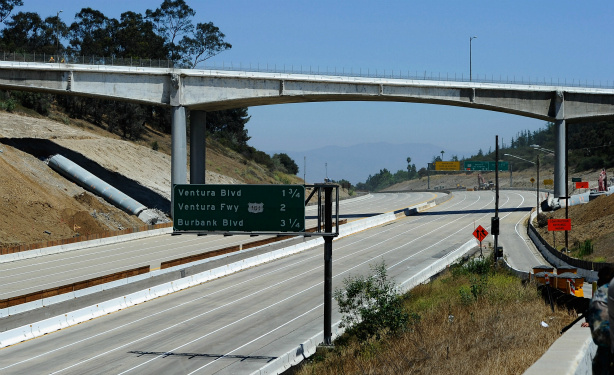 The Interstate 405 opens at the Mulholland Bridge during the shutdown of the freeway for bridge work on July 17, 2011.