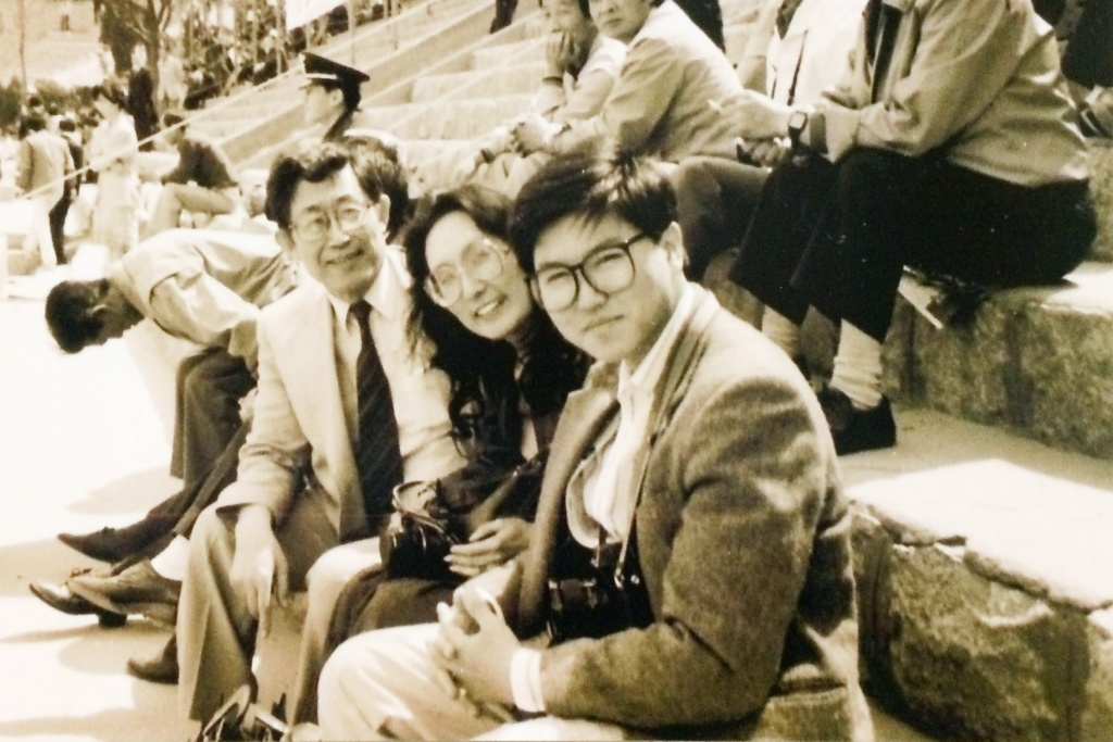 K. Connie Kang and Hyungwon Kang pictured together while covering Korea stories together in 1987-1988 when Connie was San Francisco Examiner Seoul Bureau Chief, and when Hyungwon was a freelance photographer working for LA Times and TIME Magazine.