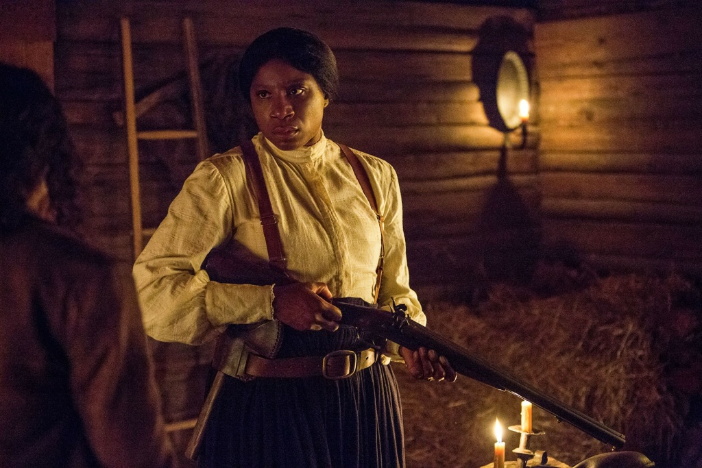 "Aisha Hinds as Harriet Tubman in the WGN series ""Underground."""