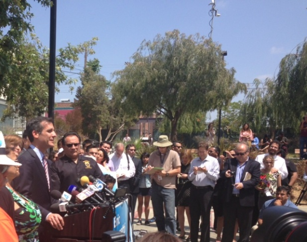 Mayor-elect Eric Garcetti addresses supporters and reporters in Echo Park Wednesday.