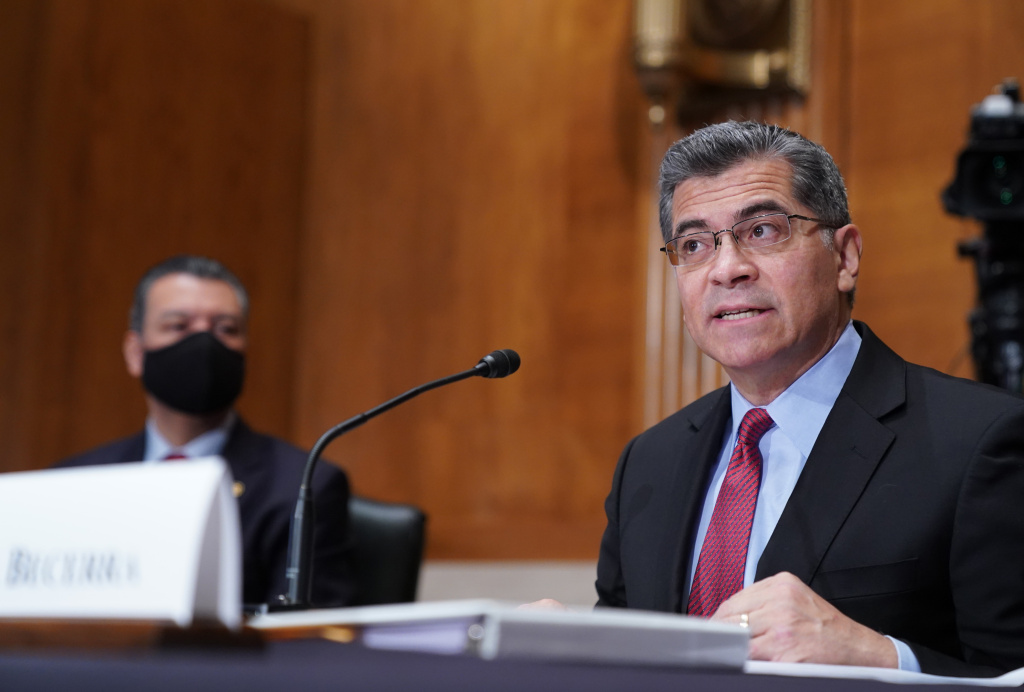 Xavier Becerra, nominee for Secretary of Health and Human Services (HHS), testifies at his confirmation hearing before the Senate Health, Education, Labor and Pensions Committee on February 23, 2021 in Washington, DC.