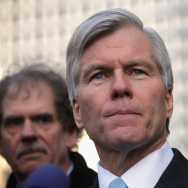 Former Virginia Governor Robert McDonnell (C) pauses as he speaks to the media outside U.S. District Court for the Eastern District of Virginia after his sentencing was announced.