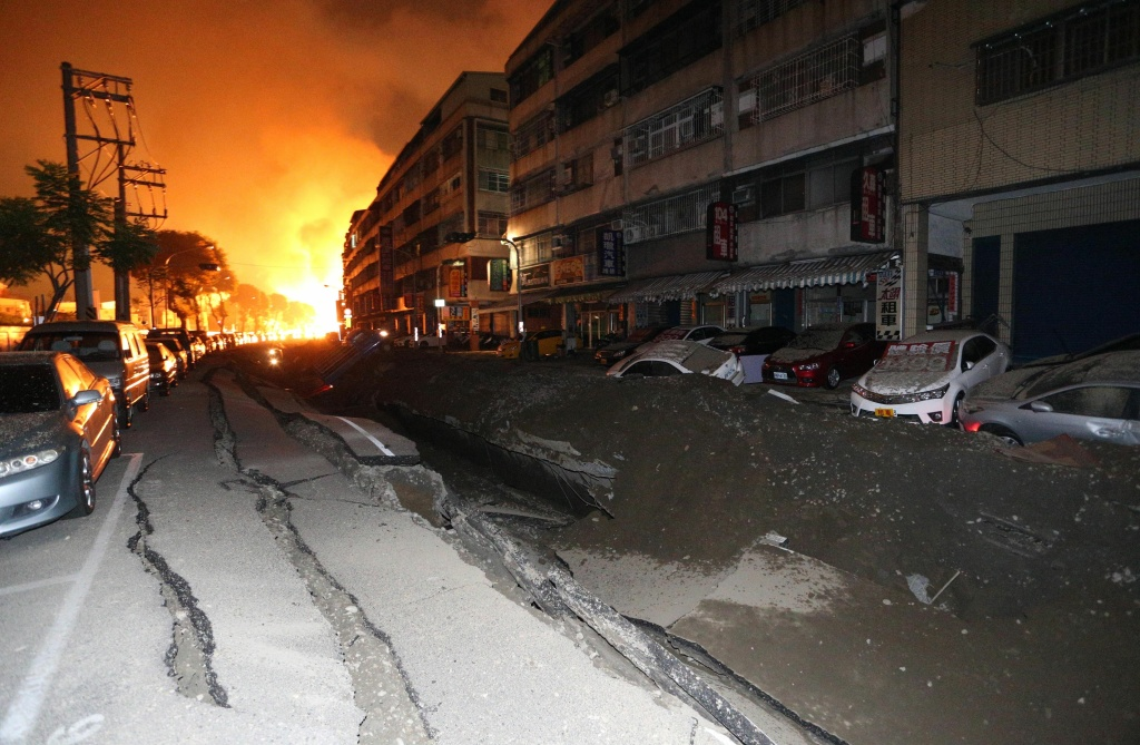 A blast rips through the city of Kaohsiung in southern Taiwan early on August 1, 2014. The explosion, that is believed to have been caused by a gas leak, killed at least four people and wounded 186 others.