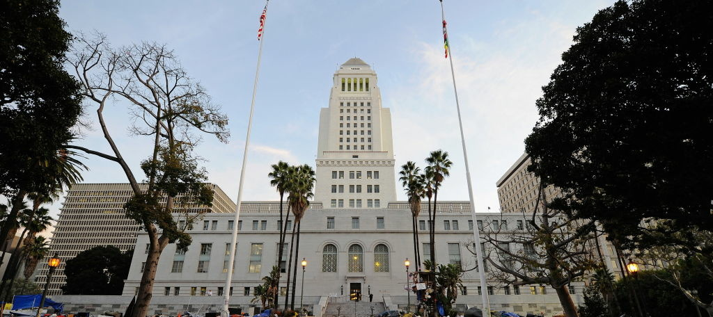 View of the LA City Hall building.