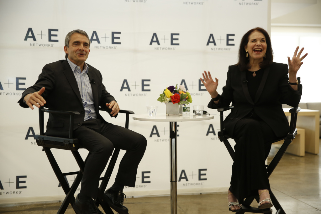 Stephen Galloway and Sherry Lansing attend A+E Panel And Reception With Sherry Lansing And Stephen Galloway on April 28, 2017 in New York City.