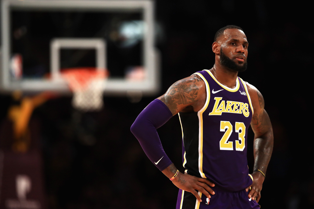 LeBron James #23 of the Los Angeles Lakers looks on during the second half of a game against the Dallas Mavericks at Staples Center on October 31, 2018 in Los Angeles, California.
