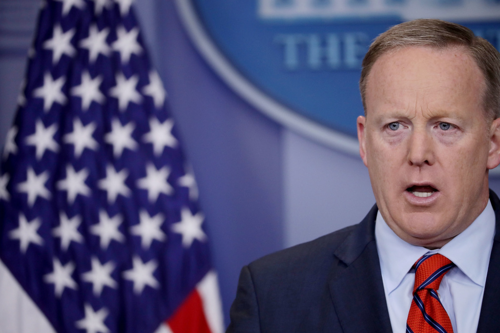 White House press secretary Sean Spicer answers reporters' questions during the daily news conference at the White House on Tuesday, April 11, 2016.