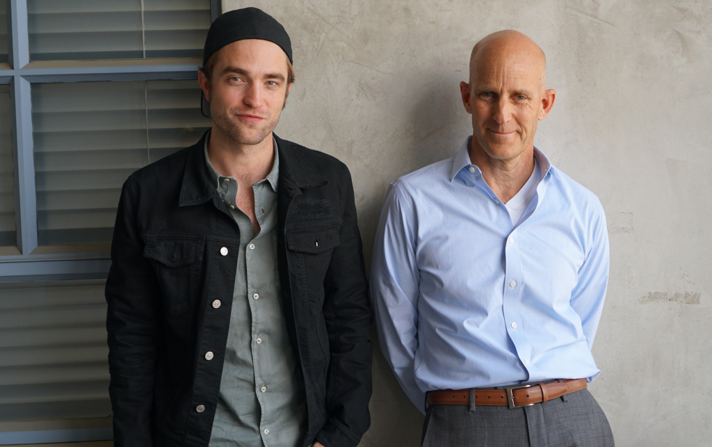 Robert Pattinson and John Horn stand outside the NPR West studios on Aug. 3, 2017. Pattinson spoke with The Frame about his new film