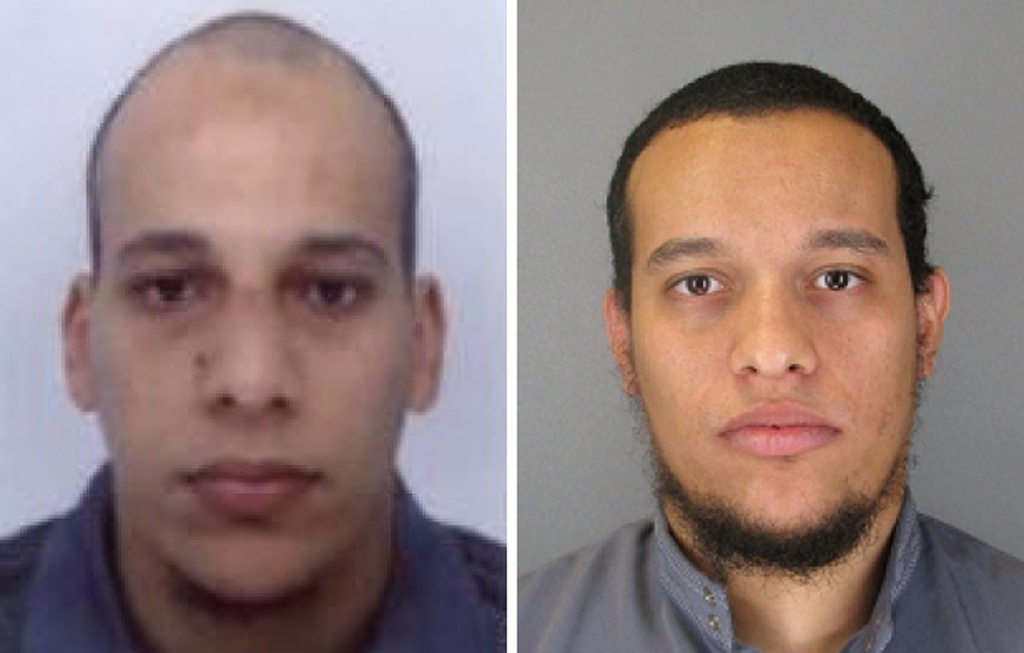 This combo shows handout photos released by French Police in Paris early on January 8, 2015 of suspects Cherif Kouachi (L), aged 32, and his brother Said Kouachi (R), aged 34, wanted in connection with an attack at the satirical weekly Charlie Hebdo in the French capital that killed at least 12 people. French police on January 8 published photos of the two brothers wanted as suspects over the bloody massacre at the magazine in Paris as they launched an appeal to the public for information.