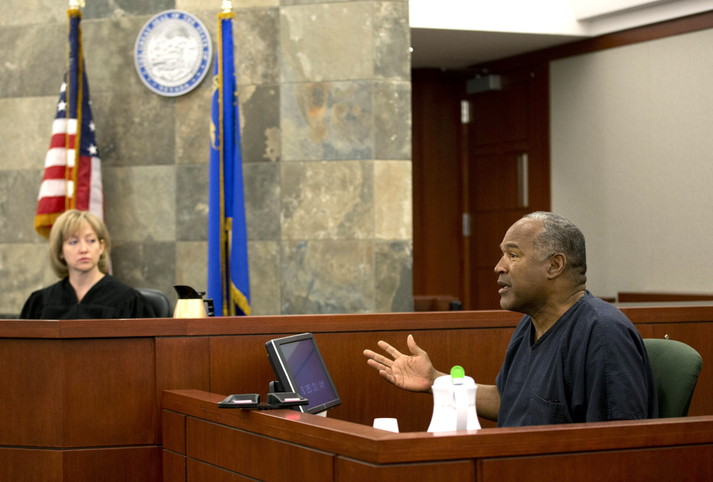 Judge Linda Marie Bell listens as O.J. Simpson testifies during an evidentiary hearing in Clark County District Court May 15, 2013 in Las Vegas, Nevada.