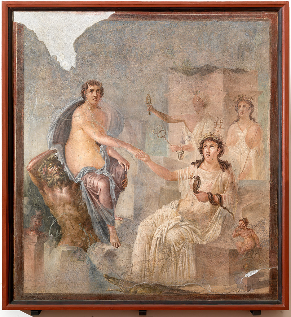 Fresco with the Arrival of Io in Egypt, Roman, AD 62–79; found in the Temple of Isis, Pompeii; plaster and pigment. Museo Archeologico Nazionale, Naples.