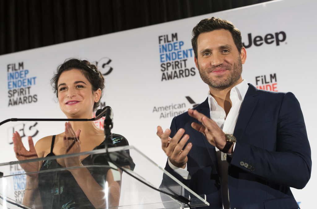 Actors Jenny Slate and Edgar Ramrez at the 2017 Film Independent Spirit Awards nomination press conference.