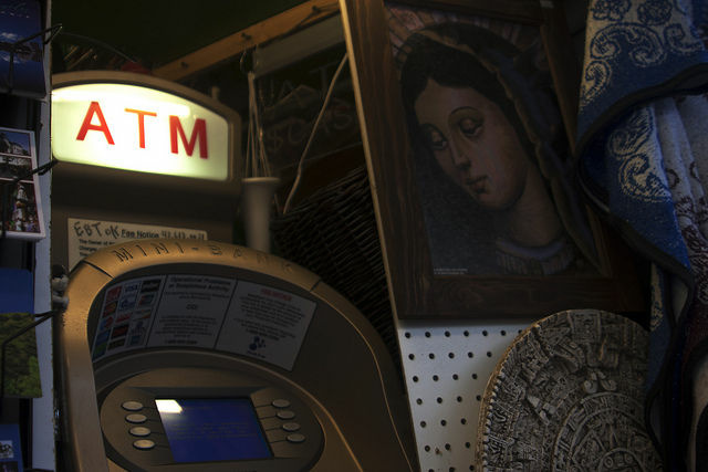 ATM in a souvenir shop on Olvera Street, Los Angeles. If the proposal passes, illegal immigrants can use library cards to open bank accounts.