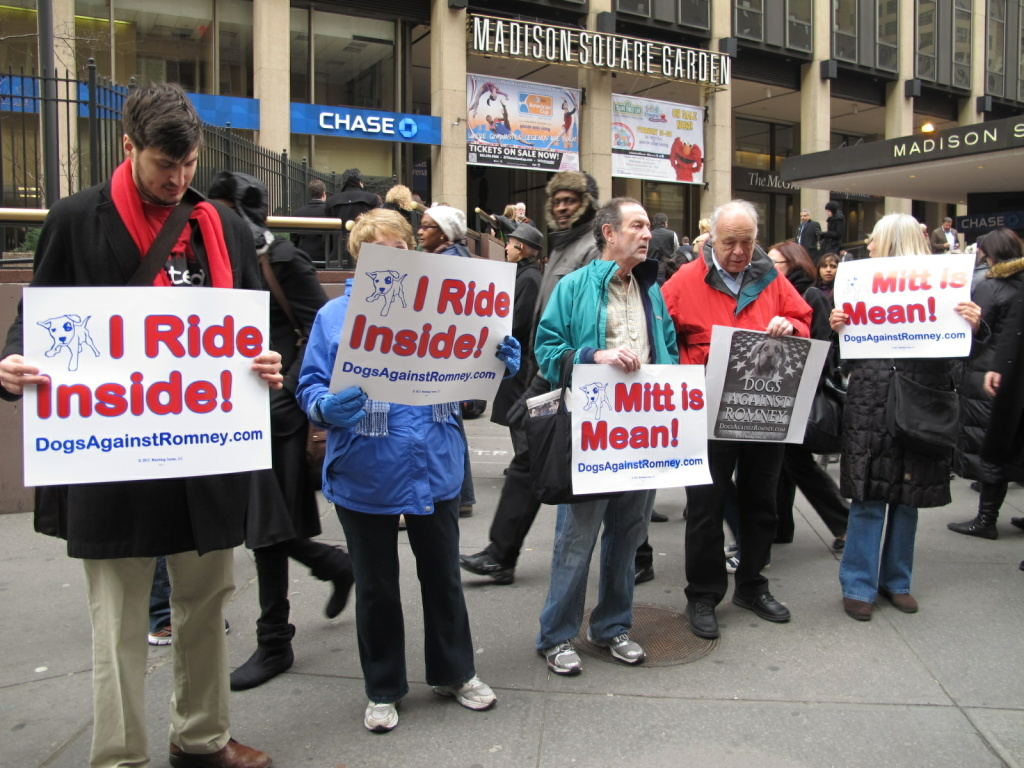 Protesters with DogsAgainstRomney rally at Madison Square Garden.
