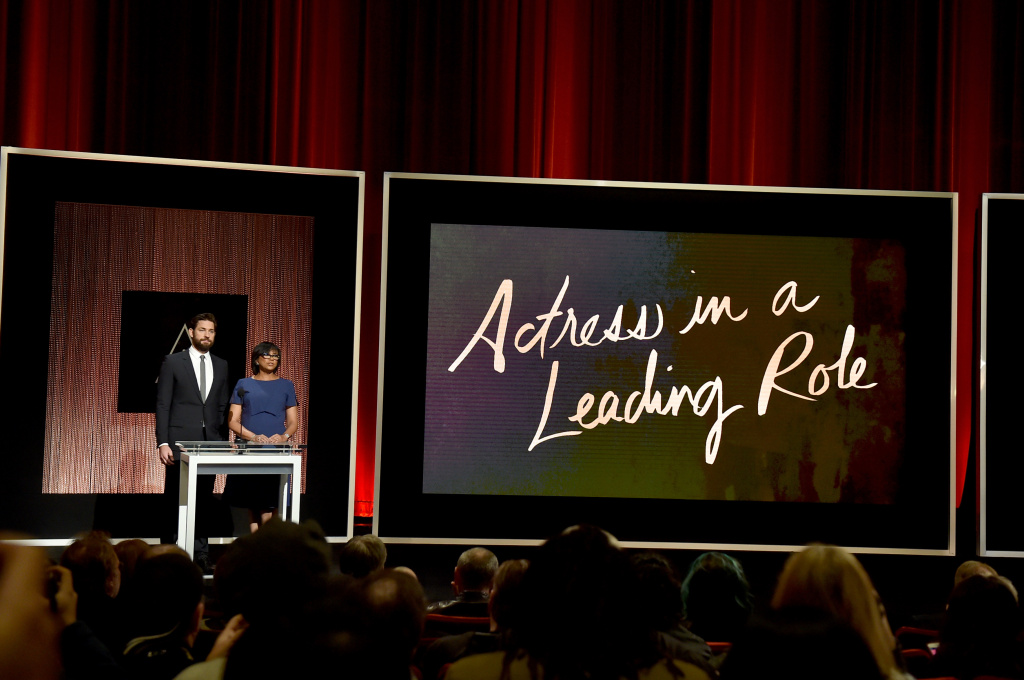 Actor John Krasinski and President of the Academy of Motion Picture Arts and Sciences Cheryl Boone Isaacs announce the nominees for Best Actress in a Leading Role during the 88th Oscars Nominations Announcement.