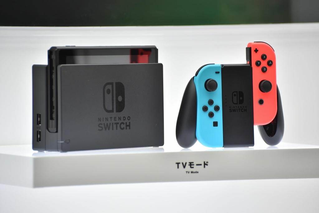 Nintendo's new video game console Switch is displayed at a presentation in Tokyo on Jan. 13, 2017. Nintendo on Jan. 13 unveiled its new Switch game console, which works both at home and on-the-go, as it looks to offset disappointing Wii U sales and go head to head with rival Sony's hugely popular PlayStation 4.