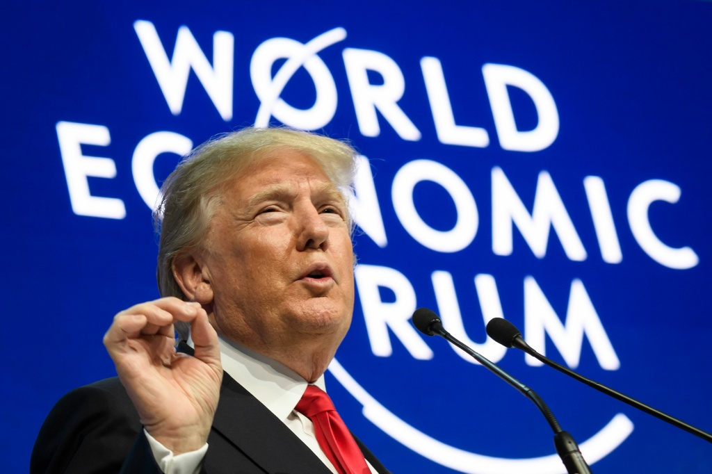 U.S. President Donald Trump delivers a speech during the World Economic Forum on January 26, 2018 in Davos, Switzerland.