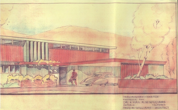 A sketch of one of Williams' mid-century modern home designs from the City of Ontario Planning Department. The work of Williams, an African-American architect, and Maria Kipp, a German immigrant who designed textiles, is on display in a new exhibit at the San Bernardo County Museum.