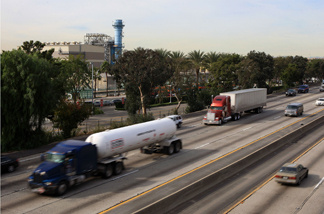 Cars and trucks on the Interstate 5 near Burbank, California.