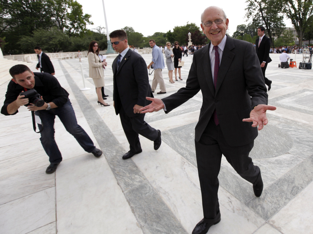 Supreme Court Justice Stephen Breyer fell from his bike while riding along the National Mall in Washington, D.C., on Friday. He underwent surgery for a fractured shoulder on Saturday.