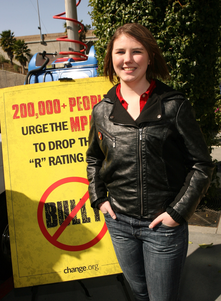 "MPAA receives 200,000 signatures from bullied student, Katy Butler, urging reversal of ""R"" rating for ""Bully"" film at the offices of the Motion Picture Association of America on March 7, 2012 in Sherman Oaks, California."