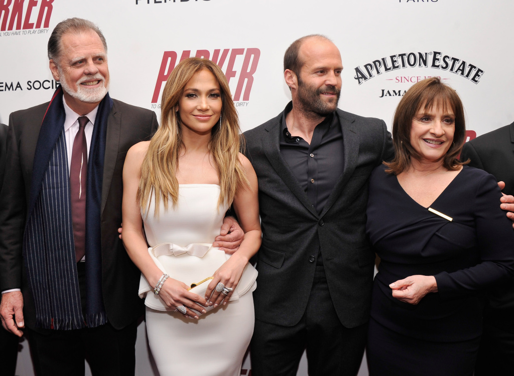 (L-R) Taylor Hackford, Jennifer Lopez, Jason Statham and Patti LuPone attend a screening of