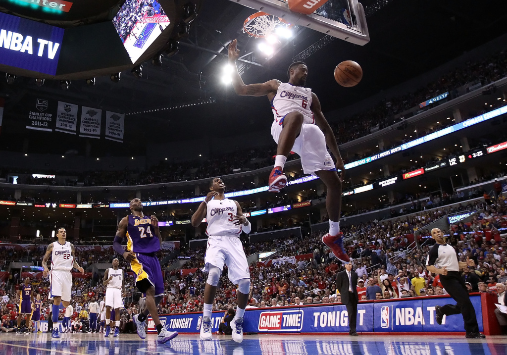 DeAndre Jordan #6 of the Los Angeles Clippers slam dunks the ball against the Los Angeles Lakers during the second half of the NBA game at Staples Center on April 7, 2013 in Los Angeles, California.  The Clippers defeated the Lakers 109-95.