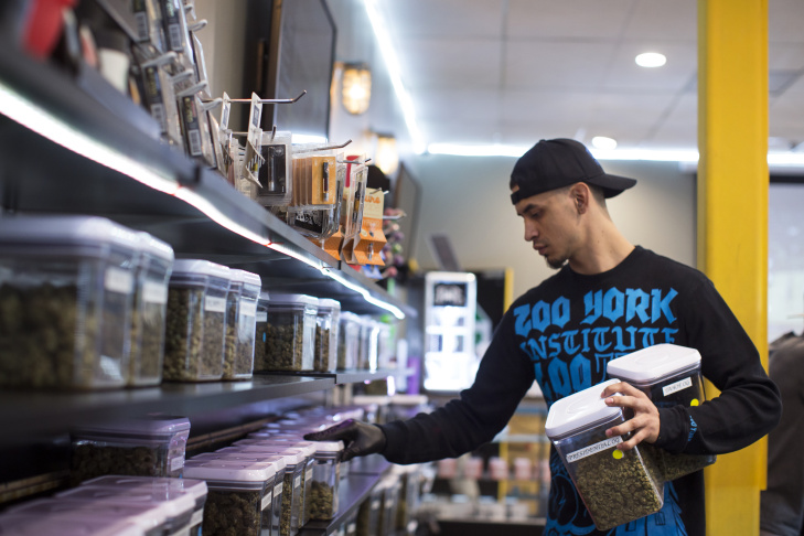 Budtender Andrew Urbina pulls strains from a shelf for a patient at Kushmart, one of the largest medical marijuana dispensaries in downtown Los Angeles, on Monday afternoon, Feb. 29, 2016.