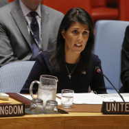 United States Ambassador to the United Nations Nikki Haley speaks during a UN Security Council emergency meeting over North Korea's latest nuclear test, on September 4, 2017 at UN Headquarters in New York.