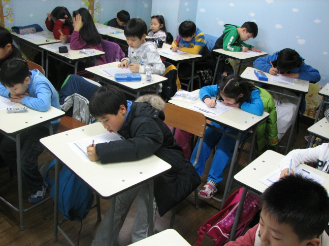 Students test-taking.