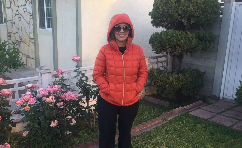KPCC listener Luceli Ceja, bundled up for a cold morning in Southern California. Which, to her, could be in the mid-60s.